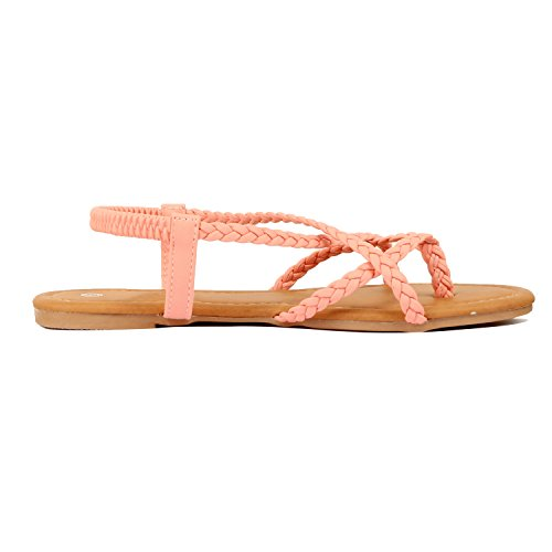 Guilty Heart Womens Crisscross Summer Gladiator Braided Comfort Yoga Strappy Flats Sandals Coral Pu