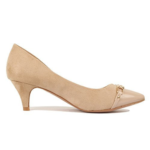 Guilty Shoes Womens Deco Embellished Classic Elegant Closed Pointy Toe Low Kitten Heel Dress Pump Shoes Heeled-Sandals Beige
