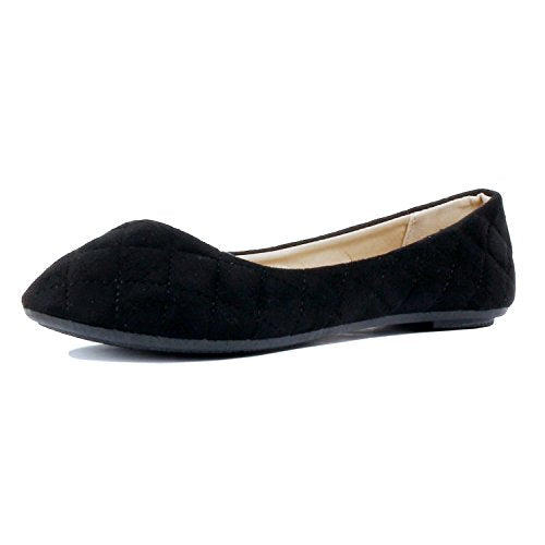 Guilty Shoes Womens Classic - Comfort Pointy Toe Slip On Ballet Flats Shoes Black Suede