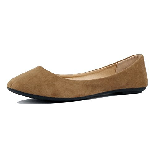 Guilty Shoes Womens Classic Comfortable Round Toe Slip On Ballet Everyday Flats Taupe Suede