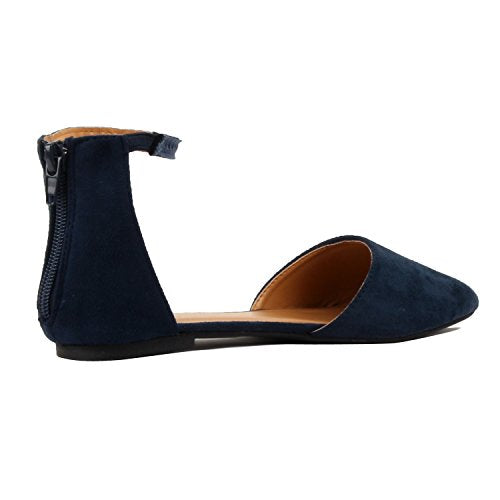 Guilty Heart Womens D'Orsay Ankle Strap Almond Pointed Toe Comfortable Suede Flats Navy Suede