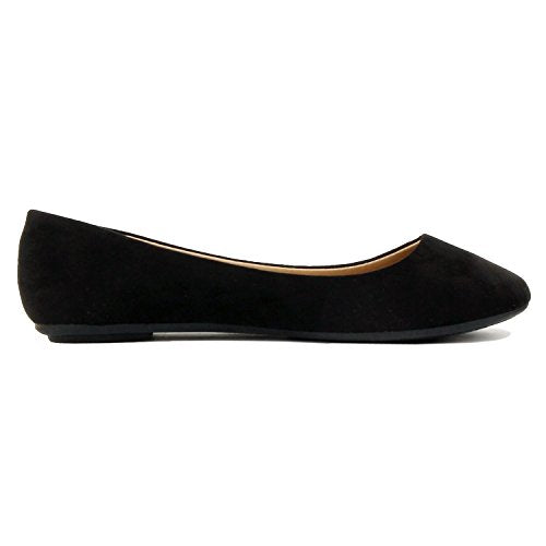 Womens Pointy Toe Slip On Classic Ballet Flat Flats-Shoes Black Suede