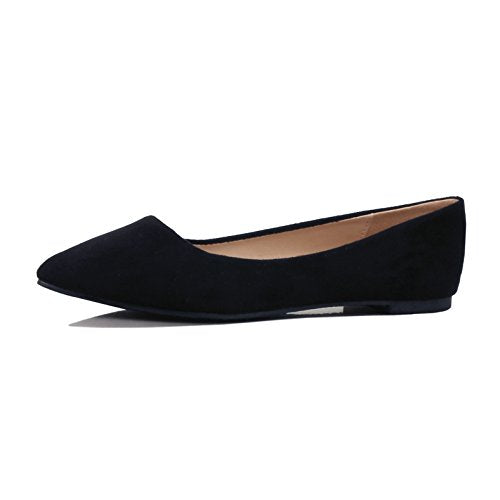Guilty Shoes Women's Classic Pointy Toe Ballet Slip On Comfortable Flats Flats Black Suede