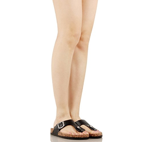 Guilty Heart Women's Casual Soft Eva T-Strap Walking Slides Sandal Sandals Black Pu