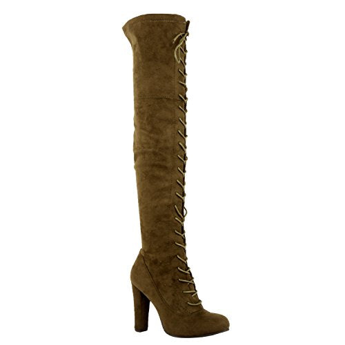 Guilty Shoes Sexy Pull up Stiletto Slouchy High Heel Over The Knee Thigh High Boots Boots Olive Suede