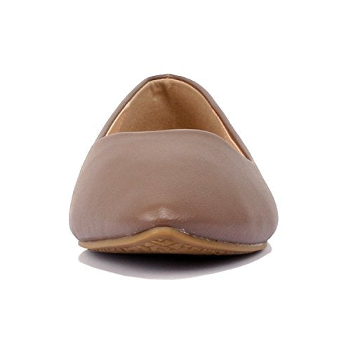 Guilty Shoes Womens Classic Pointy Toe Ballet Slip On - Casual Comfortable Flats Mocha Pu