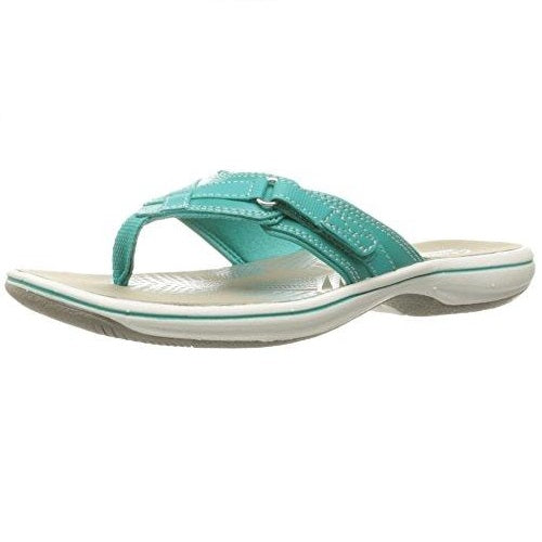 CLARKS Women's Breeze Sea Flip Flop New Turquoise Synthetic