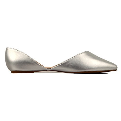 Guilty Heart Women's D'Orsay Almond Pointed Toe Slip On Casual Flats Silver Pu
