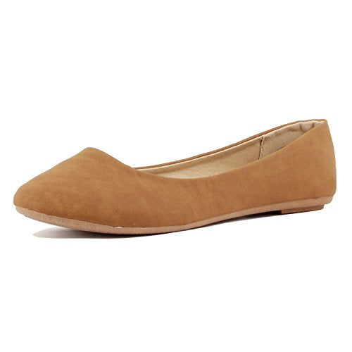 Womens Classic Round Toe Basic Comfort Ballet Ballerina Walking Flats Shoes Tan Pu