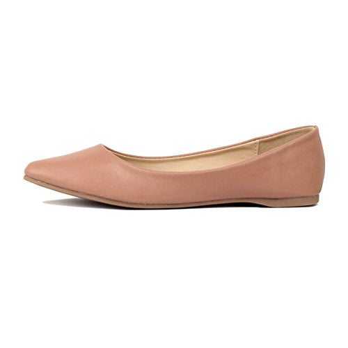 Guilty Shoes Women's Classic Pointy Toe Ballet Slip On Comfortable Flats Flats Mauve Pu