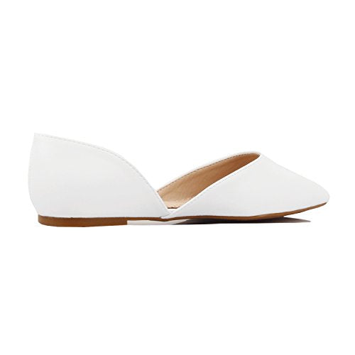 Guilty Heart Women's D'Orsay Almond Pointed Toe Slip On Casual Flats White Pu