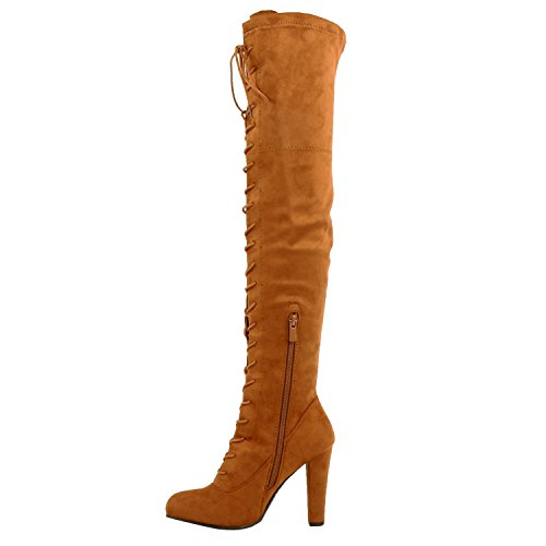 Guilty Shoes Sexy Pull up Stiletto Slouchy High Heel Over The Knee Thigh High Boots Boots Tan Suede