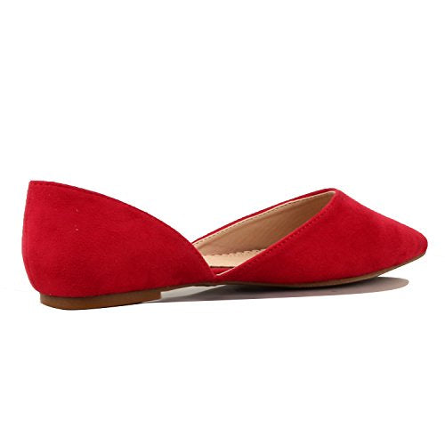 Guilty Heart Women's D'Orsay Almond Pointed Toe Slip On Casual Flats Red Suede