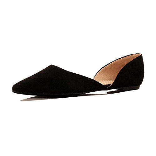 Guilty Heart Women's D'Orsay Almond Pointed Toe Slip On Casual Flats Black Suede