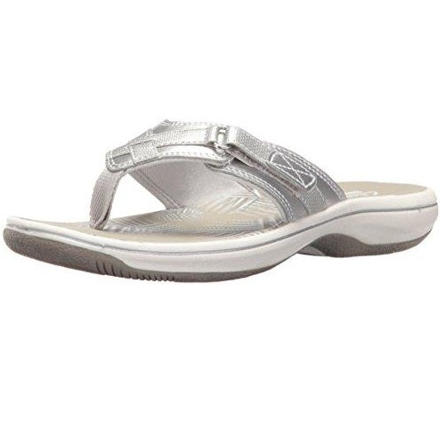 49480e9b19bc CLARKS Women s Breeze Sea Flip Flop New Silver Synthetic