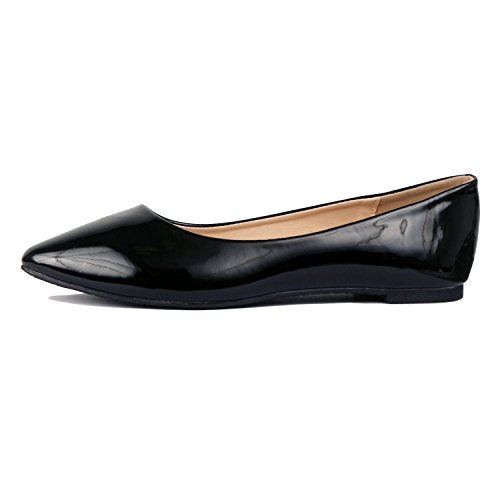 Guilty Shoes Women's Classic Pointy Toe Ballet Slip On Comfortable Flats Flats Black Patent