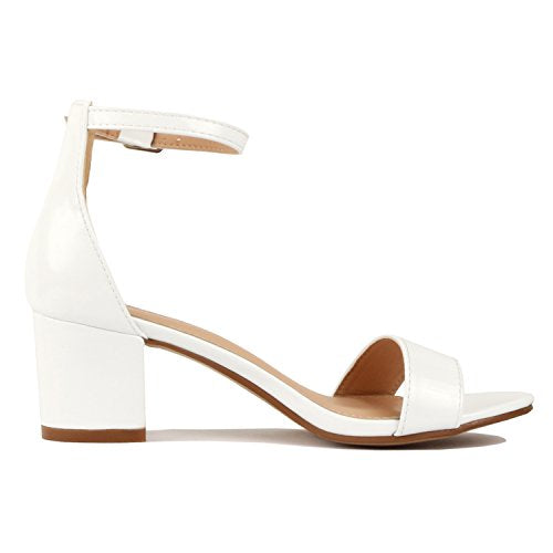 Guilty Shoes Womens Ankle Strap Single Band Sandals - Low Chunky Block Comfortable Office Heeled Sandals White Patent