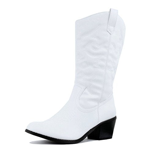 West Blvd Miami Cowboy Western Boots, White Pu