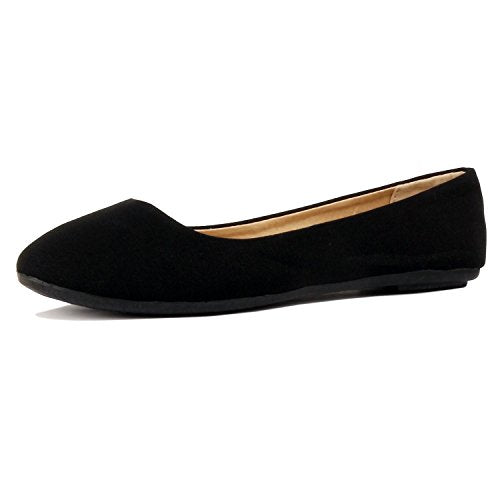Womens Classic Round Toe Basic Comfort Ballet Ballerina Walking Flats Shoes Black Canvas