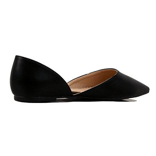 Guilty Heart Women's D'Orsay Almond Pointed Toe Slip On Casual Flats Black Pu
