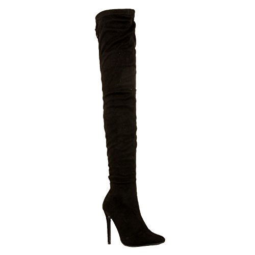 Guilty Shoes Sexy Pull up Stiletto Slouchy High Heel Over The Knee Thigh High Boots Boots Black Suede