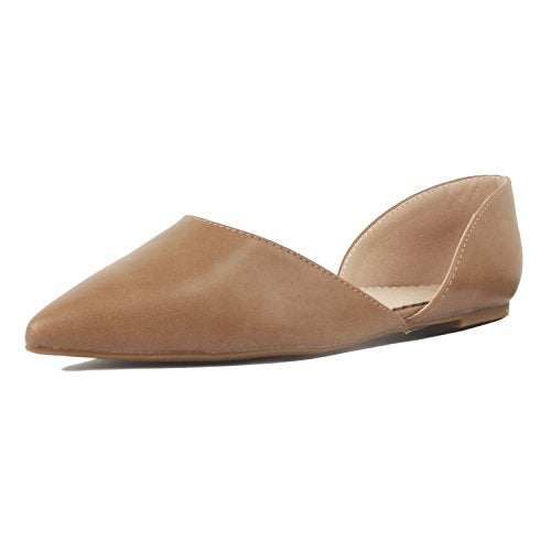 Guilty Heart Women's D'Orsay Almond Pointed Toe Slip On Casual Flats Mocha Pu