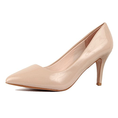 Guilty Shoes Womens Classic Pointy Toe Low Kitten Heel Office Dress Slip On Fashion Pump Beige Patent