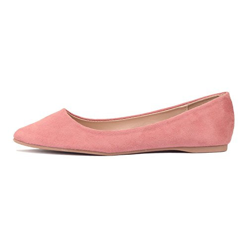 Guilty Shoes Women's Classic Pointy Toe Ballet Slip On Comfortable Flats Flats Mauve Suede