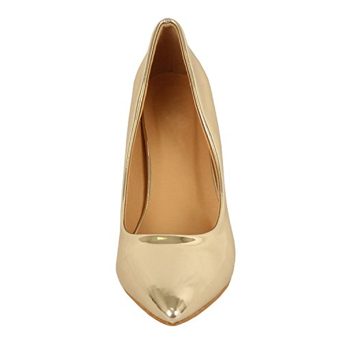 Guilty Shoes Womens - Embellished Classic Elegant - Closed Pointy Toe Low Kitten Heel - Dress Heeled Sandal Pump Gold Patent