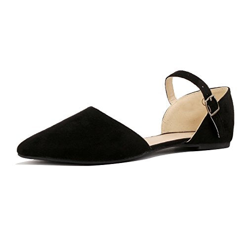 Guilty Heart Womens D'Orsay Ankle Strap Almond Pointed Toe Comfortable Suede Flats Black Suede