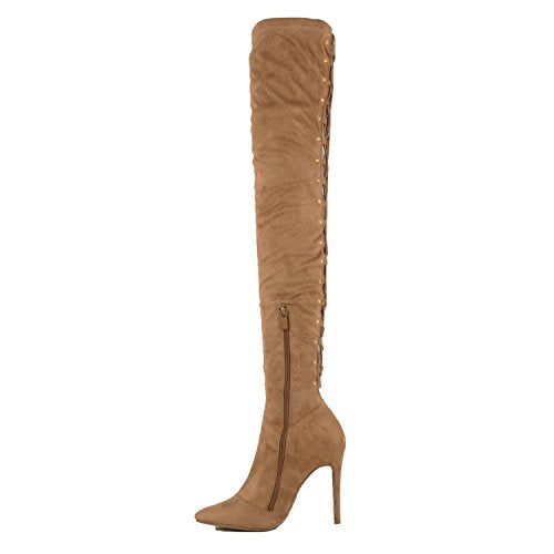 Guilty Shoes Sexy Pull up Stiletto Slouchy High Heel Over The Knee Thigh High Boots Boots Taupe Suede