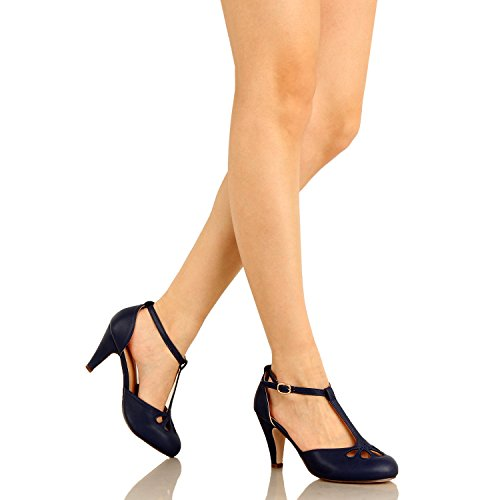 Guilty Heart Womens Vintage Retro Mary Jane Kitten Mid Heel Pump Pumps Navy Pu