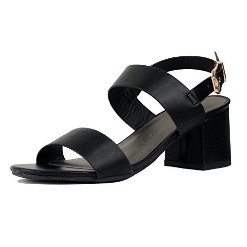 Guilty Heart Womens Block Chunky Ankle Strap Strappy Open Toe Sandals Black Pu