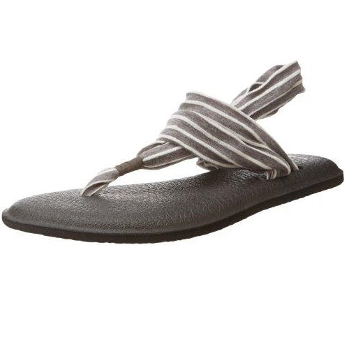 Sanuk Women's Yoga Sling 2 Prints Flip Flop Charcoal Natural Stripes