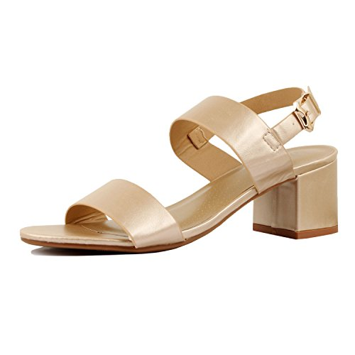 d8a5cca257783e ... Guilty Heart Womens Comfortable Block Chunky Ankle Strap Strappy Open  Toe Mid Heel Sandals Gold Pu ...