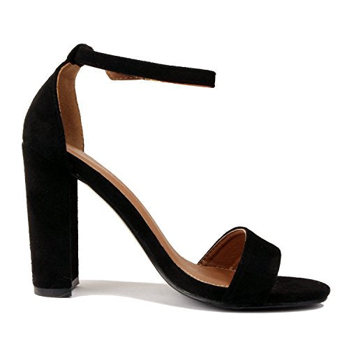 Guilty Shoes Comfort Suede One Band Open Toe Sexy Ankle Strap Buckle Chunky Heel Heeled-Sandals Black Suede