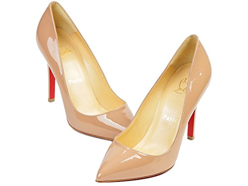 Christian Louboutin Women's Glossy Pointed Toe Pumps Pink Beige