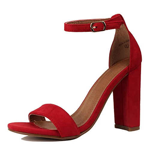 Guilty Shoes Comfort Suede One Band Open Toe - Sexy Ankle Strap Buckle - Dress Party Chunky Heel Heeled-Sandas Red Suede