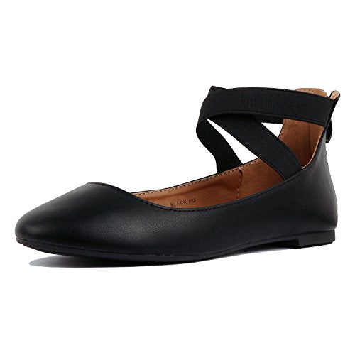 Guilty Shoes Womens Classic Comfort Elastic Crossing Straps - Stretchy Ballerina Ballet Flats Shoes Black Pu
