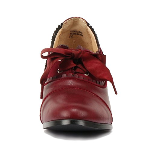 Guilty Shoes Classic Retro Two Tone Embroidery Wing Tip Lace up Kitten Heel Pump Oxfords Shoes Oxfords Burgundy