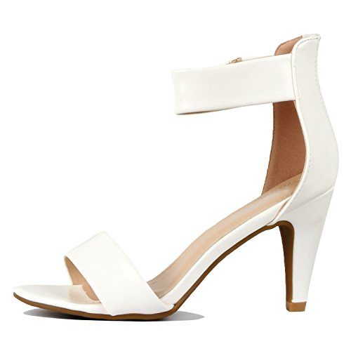 Guilty Shoes Womens Classic Comfort Sexy Open Toe Ankle Strap Dress Stiletto Kitten Heel Sandals Sandals White Patent