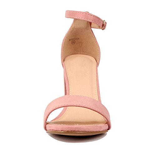 Guilty Shoes Comfort Suede One Band Open Toe - Sexy Ankle Strap Buckle - Dress Party Chunky Heel Heeled-Sandas Mauve Suede