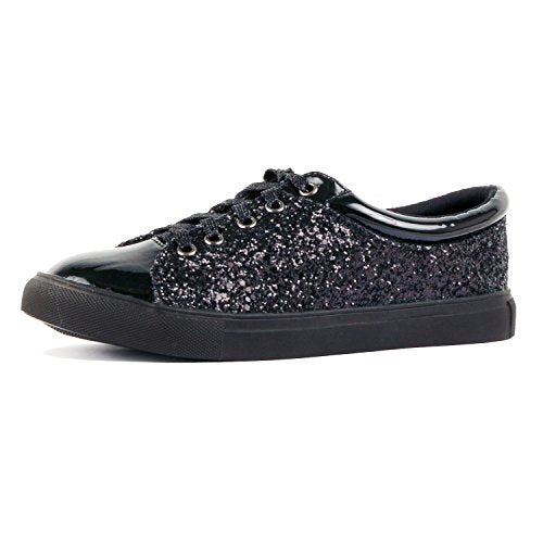 Guilty Shoes Womens Fashion Glitter Metallic Lace up Sparkle Slip On - Wedge Platform Sneaker Fashion Sneakers Black Glitter
