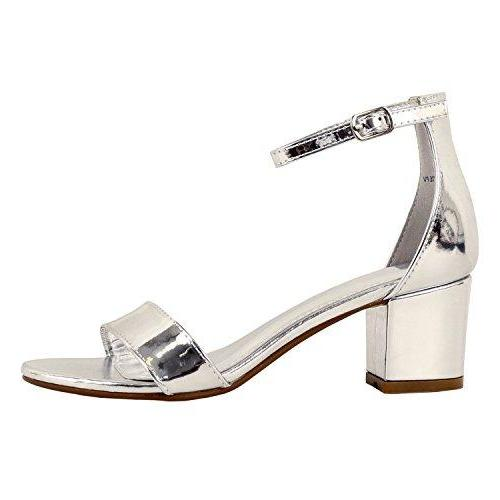 Guilty Shoes Womens Ankle Strap Single Band Sandals - Low Chunky Block Everyday Office Heeled Sandals Silver Lucite