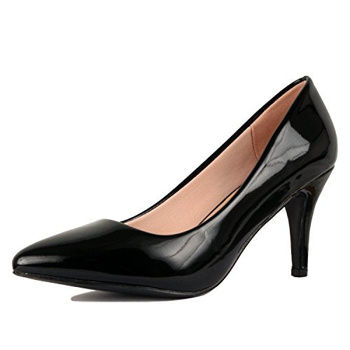 Guilty Shoes Womens - Embellished Classic Elegant - Closed Pointy Toe Low Kitten Heel - Dress Heeled Sandal Pump Black Patent