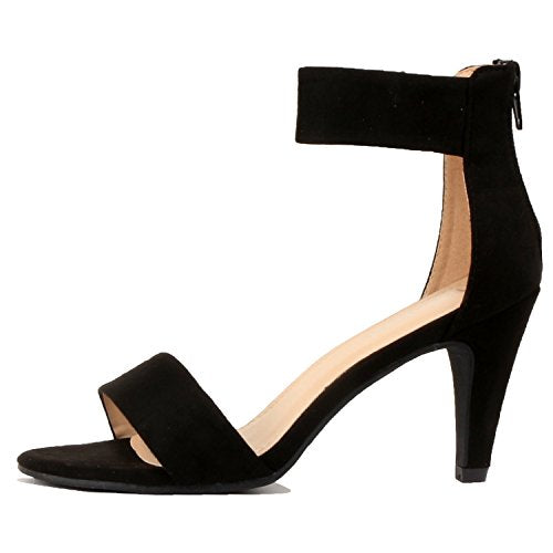Womens Classic Comfort Sexy Open Toe Mid Heel Ankle Strap Dress Stiletto Heeled-Sandals Black Suede