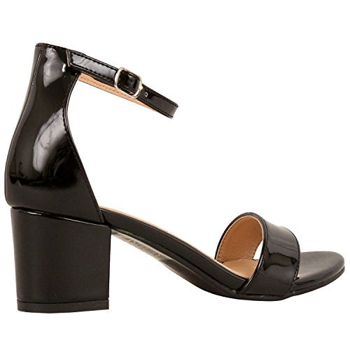 Guilty Shoes Womens Ankle Strap Single Band Sandals - Low Chunky Block Comfortable Office Heeled Sandals Black Patent
