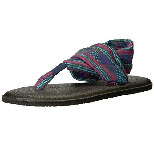 Sanuk Women's W Yoga Sling 2 Prints Flip-Flop Navy Multi Geo Stripes