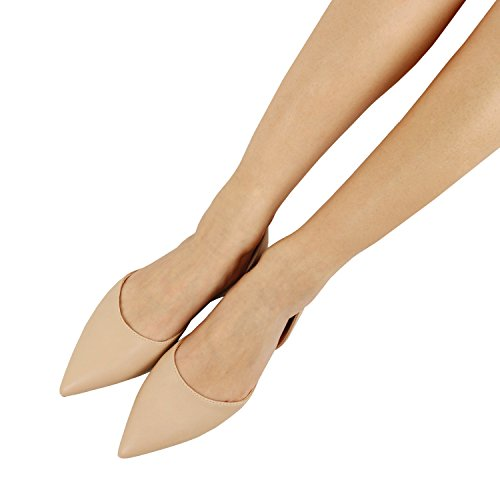 Guilty Heart Women's D'Orsay Almond Pointed Toe Slip On Casual Flats Natural Pu