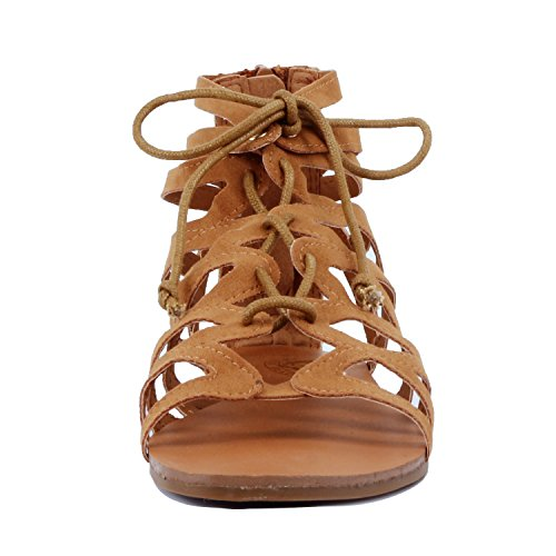 Guilty Heart Womens Summer Strappy Gladiator Bead Bohemian Flat Sandals Sandals Tan